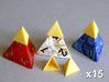 Tetrahedron Capstones (x15) 3d printed Capstones shown in position on Kemet dice.