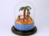 Zombie Day at the Beach diorama 3d printed Sitting on polymer clay pedestal under glass dome