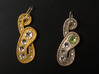 Rhine Pendant 1 3d printed Painted plastic and polished steel with rhinestone crystals