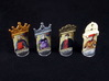 Fief - King etc. markers (4 pcs) 3d printed Hand-painted White Strong Flexible. Standees copyright Asyncron/Academy games.