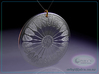 Asterolampra eximia pendant ~ 35mm (1 1/3 inch) 3d printed Asterolampra eximia 35mm pendant raytrace render simulating polished silver material