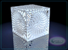 Voronoi cube lampshade ~ 100mm tall 3d printed Raytraced render simulating polished white strong & flexible material