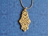 Raindrop Celtic Knot Pendant 40mm 3d printed Matte Gold Steel