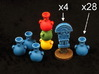 Mayan tech/temple & score tokens (32 pcs) 3d printed Hand-painted White Strong Flexible Polished.
