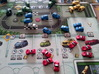 Miniature Jeep 20mm (1 - 4 pcs) 3d printed Various hand-painted cars, in-situ. Game board copyright Stronghold Games.