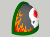 10 Shoulder Pads Skull with Flames and Halo 3d printed