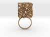 Voronoi Cube Ring (Size 8.5) 3d printed Polished Brass