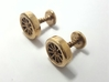 Formula 1 Wheel cufflinks 3d printed Polished bronze formula 1 cufflinks