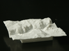 3'' Yosemite Valley Terrain Model, California, USA 3d printed View of printed model from the South; El Capitan on the left, Half Dome on the right