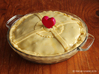 Pie Funnel in a heart shape 3d printed Gloss Red Porcelain - Pie before going in the oven