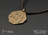 Pendant Newton's Second Law 3d printed Polished Bronze Steel