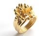 Water and Fire Ring  3d printed Water Drops Gold Plated Ring