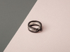 rollercoaster - external ring 3d printed pictured material: matte black steel and polished silver