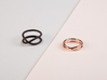 rollercoaster - external ring 3d printed pictured material: matte black steel and rose gold plated
