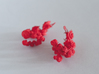 Rose Earrings 3d printed Coral red