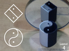 Improved Ambiguous Cylinder Illusion (Layout 4) 3d printed 3d printed object in front of mirror (Natural Color Sandstone)