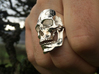 Jaw Ring 3d printed Jaw & Skull rings in polished silver size 10