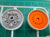 LED Mounting Disc - 1:350 Alternative Part 3d printed Printed part (right - orange) inside Bussard assembly motor housing compared with original kit part (left).