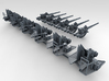 "1/200 4.7"" /40 (12cm) QF Mark VIII x6 No Shields 3d printed 3d render showing set"
