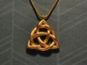 Triquetra Pendant or Trinity Knot Pendant 3d printed 1 inch tall gold matte