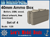 "1/20 scale 40 mm Bofors ""wood"" ammo boxes (4) US N 3d printed"