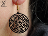 Round Reacting Earrings 3d printed Printed in Black Strong and Flexible (hook not included)