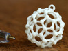 "BuckyBall C60 Earring, Silver, 1.7cm 3d printed BuckyBall C60 Earring. Test print in material ""White Strong & Flexible"""
