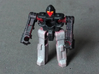"""MicroSlinger """"Flarestorm"""" 3d printed Flarestorm robot mode, front view. Painted with acrylics."""