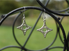 Diamond Star Earrings 3d printed Diamond Star Earrings in Polished Silver