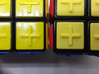 Yellow replacement tile (Rubik's Blind Cube) 3d printed Comparison (original tiles on the left, 3d-printed tiles on the right)