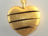 Heart & Star Pendant Small - Spiral 3d printed Polished Gold