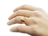 STUDIO PAULBAUT LOGO Ring (Size 5) 3d printed PAULBAUT LOGO Ring (18K Gold) on Finger