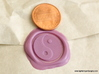 Yinyang Wax Seal 3d printed Wax impression in Lavender sealing wax, penny for scale.