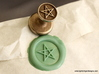 Pentagram Wax Seal 3d printed Pentagram wax seal and impression in Light Green sealing wax