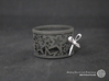 Set of 4 large Christmas napkin rings with Stars 3d printed The photo shows a print made of black strong and flexible incl. silver lacing.