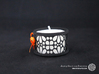 Set of 2 small tealight holders with Mosaic-3a 3d printed The photo shows a print made of black strong and flexible incl. orange lacing and a high 8h tealight candle.