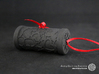Solid Gift roll small with Hearts (6 cm) 3d printed The photo shows a print made of black strong and flexible incl. red lacing.