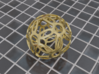 Symmetrical Pattern Sphere 3d printed Polished Gold Steel (render)