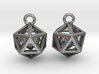 Polyhedron earrings with interlocked heart 3d printed