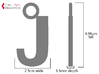 Letter J Key Ring Charm with rhinestone holes 3d printed