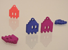 Pac Man Ghost 8-bit Earring 1 (looks L/R) 3d printed Blue Strong & Flexible Polished