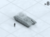 """6mm Tracked MBT Chassis (8) 3d printed Shown on 1"""" grid with 6mm figure (not included) for scale."""
