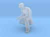 Man Kneeling: Long Coat & Cap 3d printed