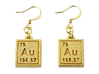 Gold Periodic Table Earrings 3d printed Polished gold steel.