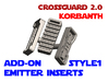 Korbanth Crossguard 2.0 - Emitter Inserts Style1 3d printed