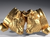 Swiss cow fighting #A - 25mm high 3d printed Polished Brass