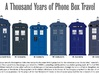 TT Type 40 TARDIS W-Surprise Inside 3d printed Showing the different sizes of TARDIS over the yrs.