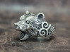 Bear Ring 3d printed This material is Polished Silver , Patinated with bleach