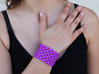 Circles & Squares Cuff (Size M) 3d printed Printed in Purple Polished Strong & Flexible Plastic