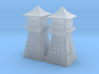 2mm 3mm Scale China Style Guard Tower Pair 3d printed